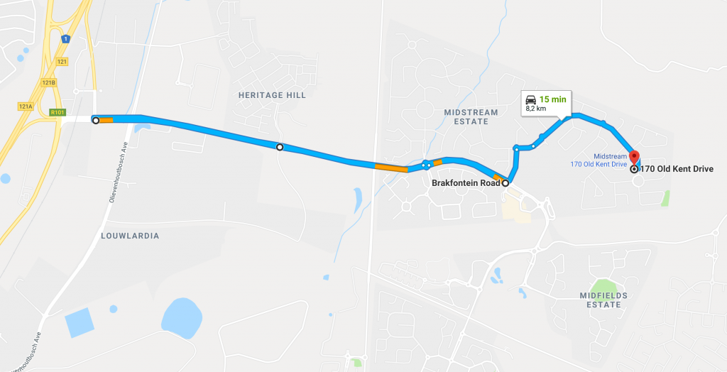Directions from the N1 via Brakfontein Road to Dr. Marisa van Niekerk, Educational Psychologist in Midstream Estate