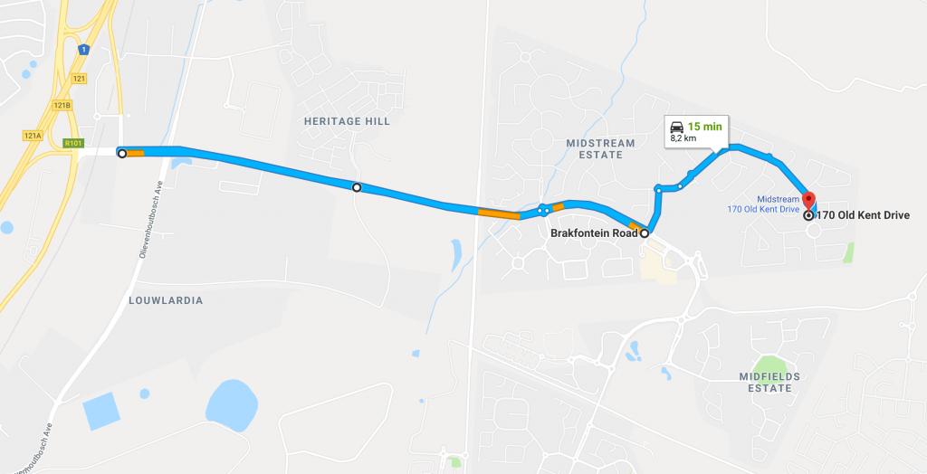 Directions from the N1 via Brakfontein Road to Dr. Marisa van Niekerk, Educational Psychologist in Midstream Estate