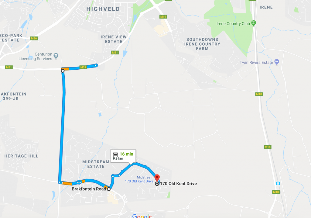Directions from Centurion, Irene and Southdowns Estate to Dr. Marisa van Niekerk, Educational Psychologist in Midstream Estate